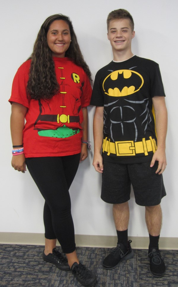 Two students dressed as Batman and Robin