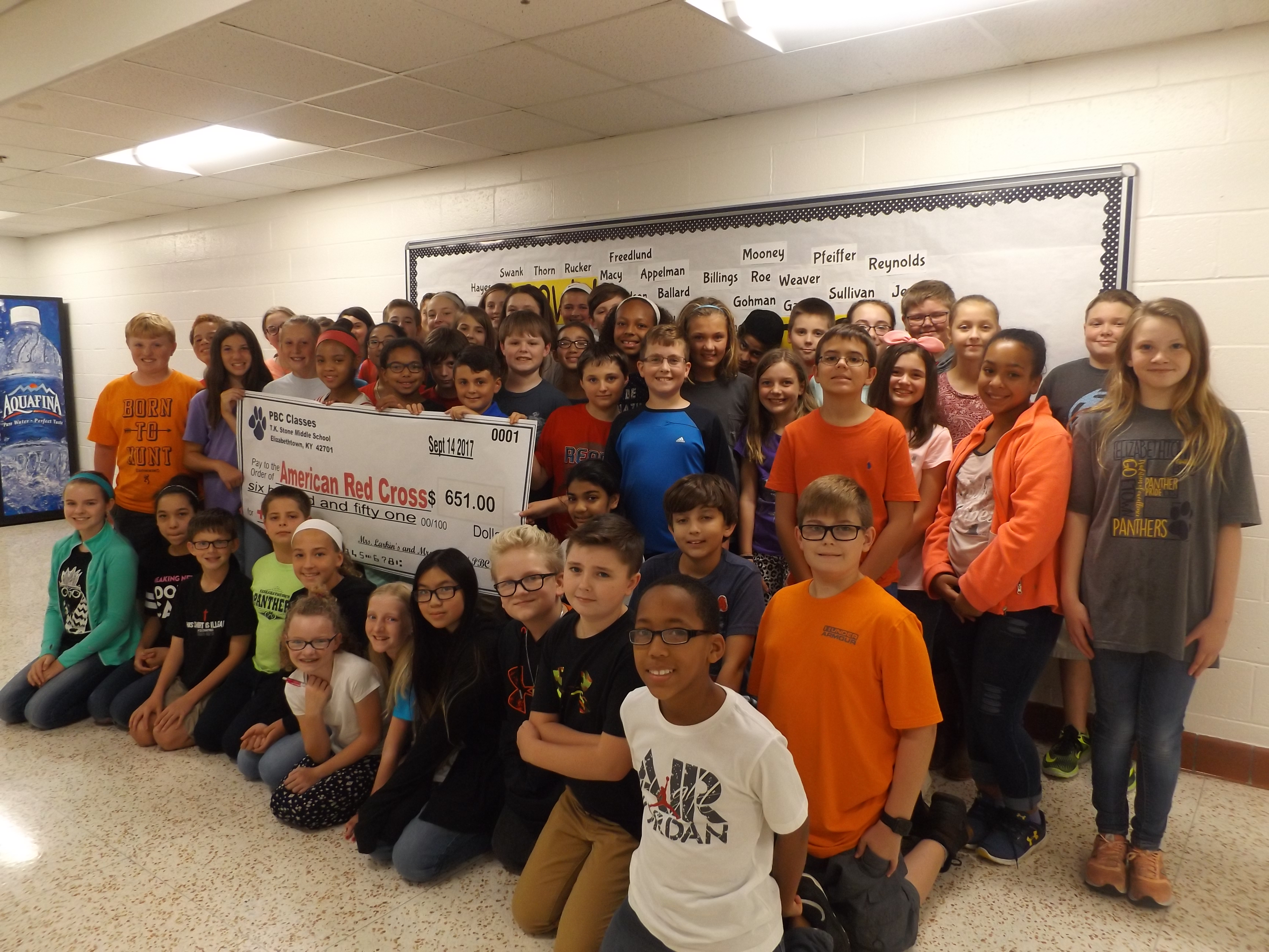 Mrs. Larkin's and Mrs. Reynolds' 6th grade Project Based Communications classes at TK Stone Middle School raised $651.00 for the American Red Cross.