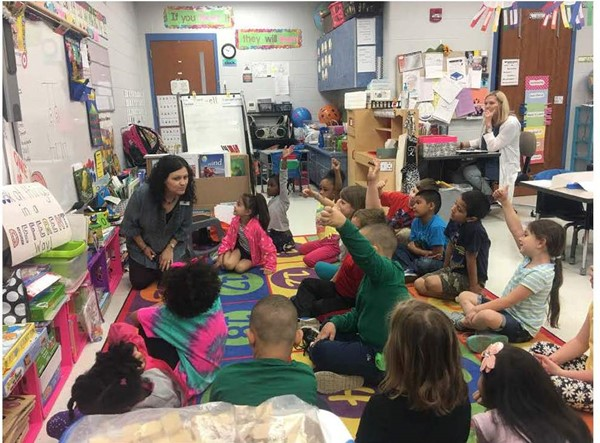 Mrs. Lackey in primary classroom.