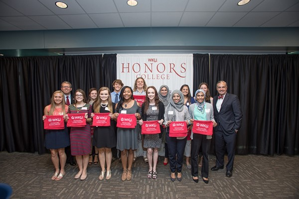 These students met the president of Western Kentucky University and the director of WKU's Mahurin Honor's College to be recognized for their outstanding academic achievements.