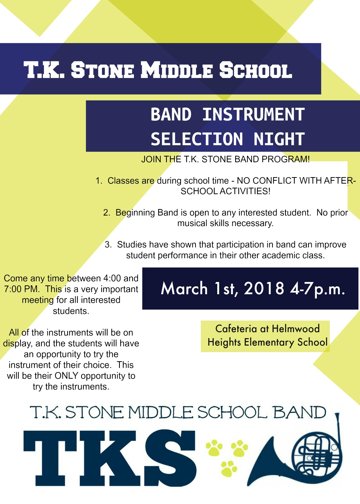fyler for instrument selection night