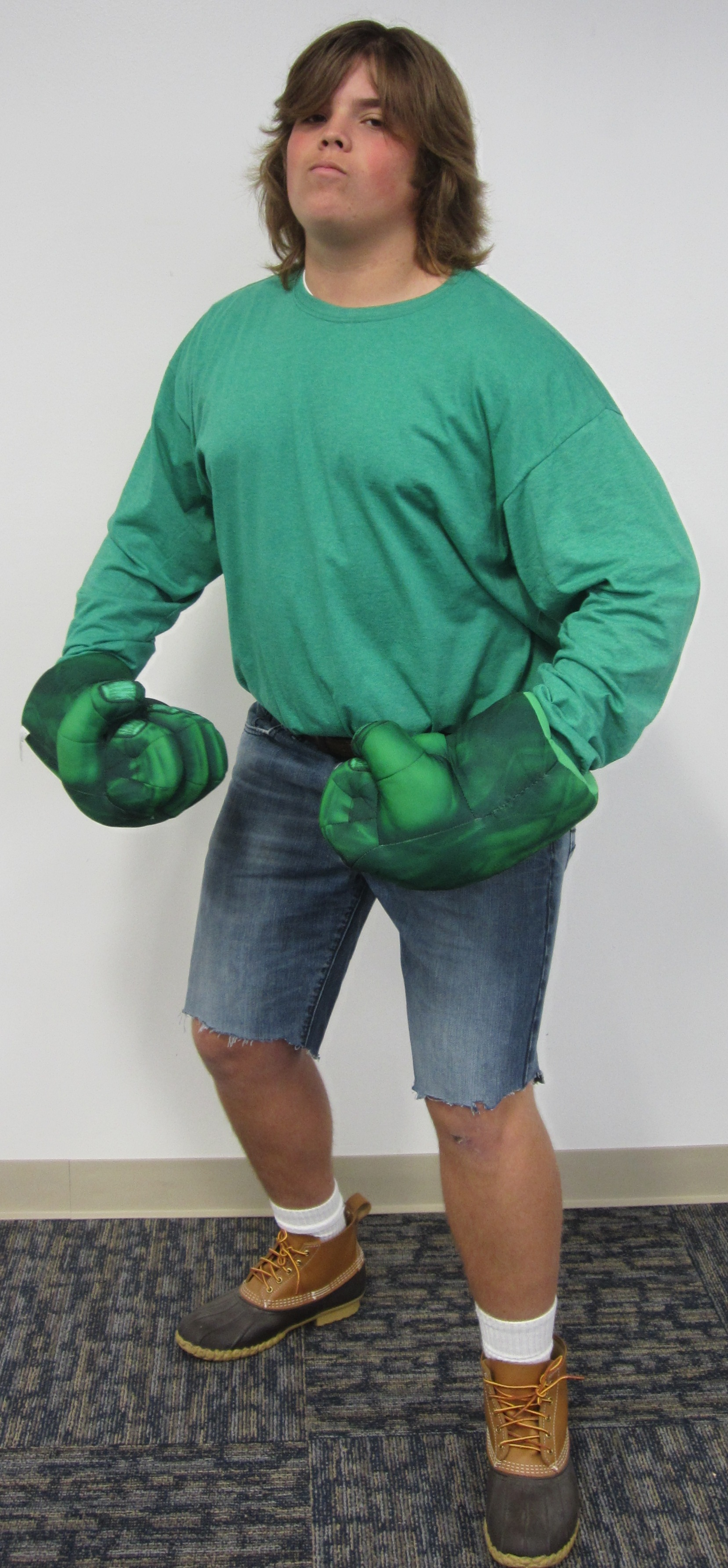 A student dressed as The Hulk