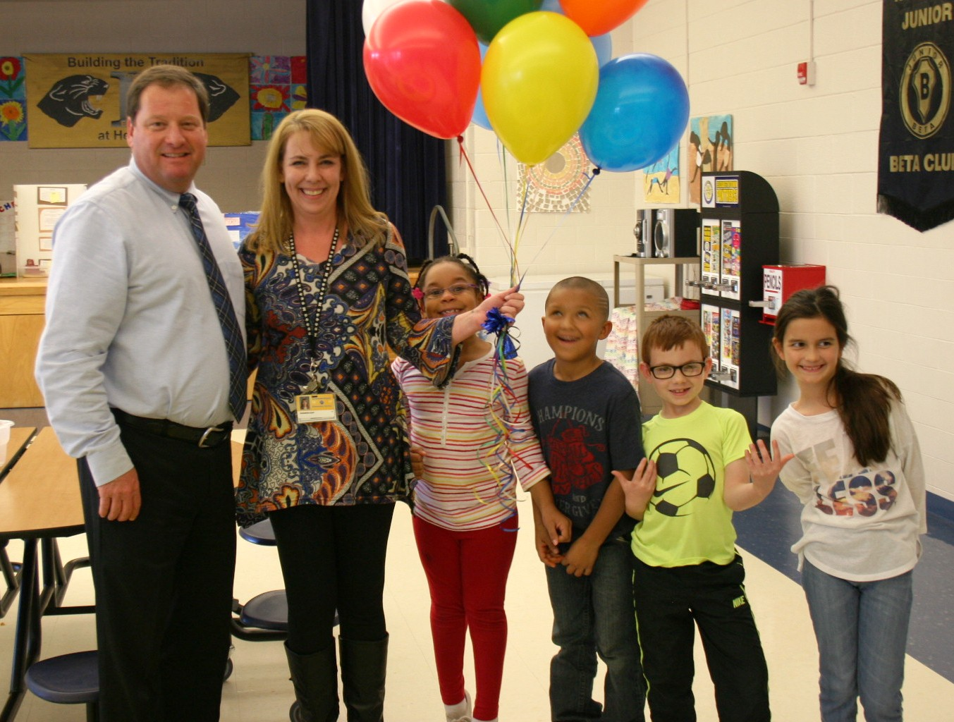 Superintendent Jon Ballard with Shannon Duff and students